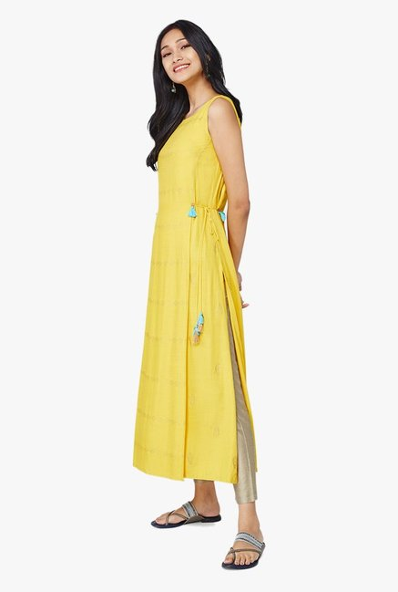 Global Desi Yellow Printed Viscose Tabrad Kurta