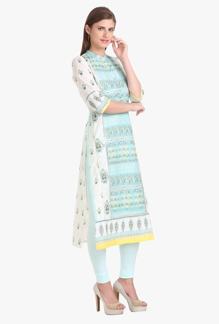 W White & Blue Printed Cotton Kurta