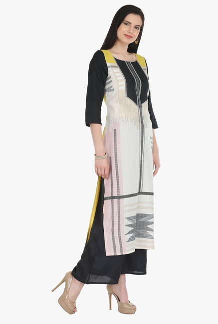W Off White Printed Rayon Kurta