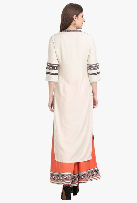W Off White Printed Cotton Kurta