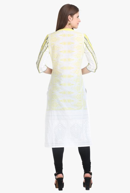 W White & Yellow Printed Cotton Kurta