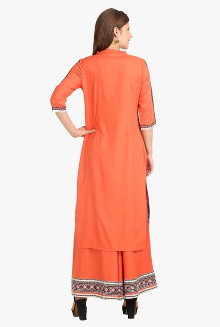 W Orange Printed Cotton Kurta