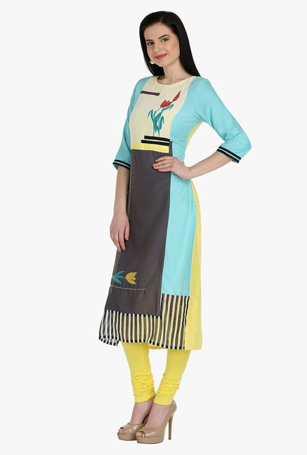 W Blue & Black Printed Rayon Kurta