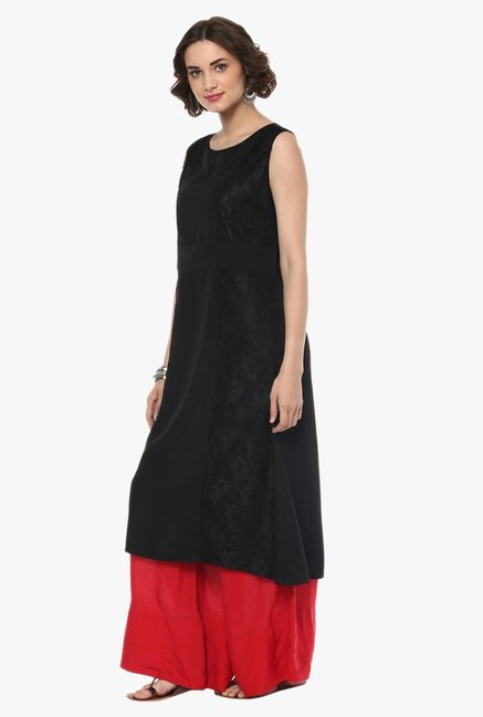 Pannkh Black Cotton Yoke Kurta