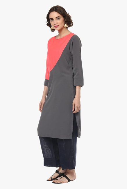 Pannkh Grey & Peach Round Neck Kurta