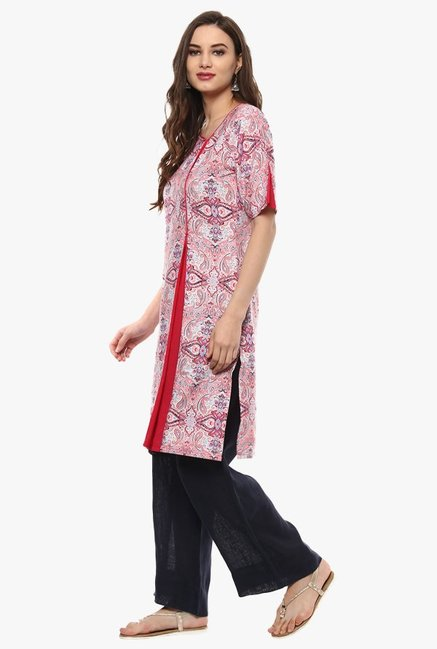 Pannkh Pink Printed Inverted Pleat Kurta