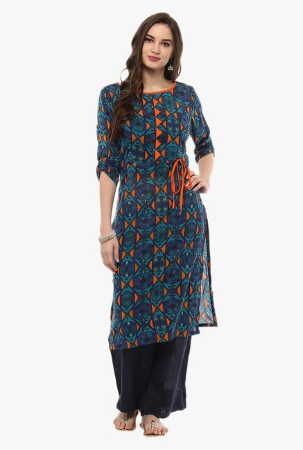 Pannkh Blue & Orange Printed Cotton Kurta