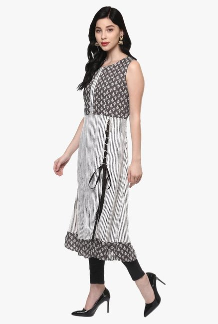 Pannkh Off White & Grey Printed Cotton Kurta