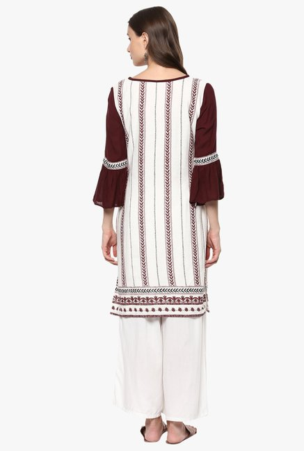 Pannkh Off White Printed Cotton Kurta