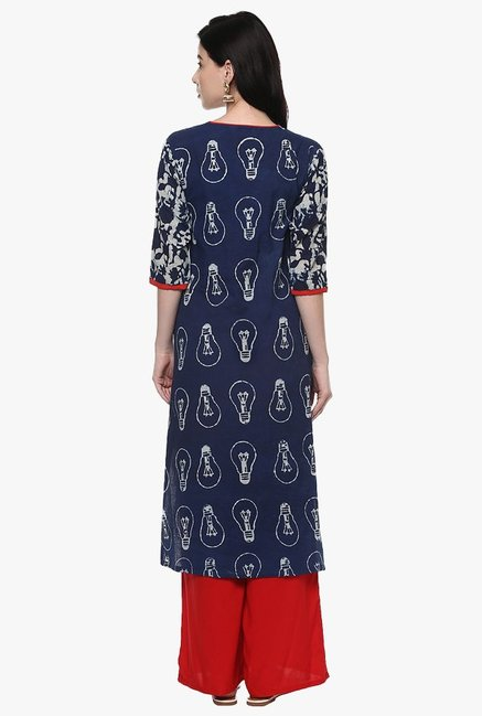 Pannkh Navy Printed Cotton Kurta