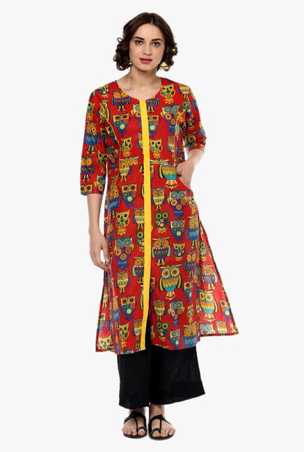 Pannkh Red Printed Cotton Kurta