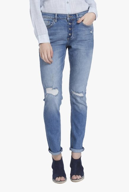 Vero Moda Blue Slim Fit Lightly Washed Jeans