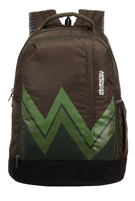 American Tourister Twist Brown & Green Printed Backpack