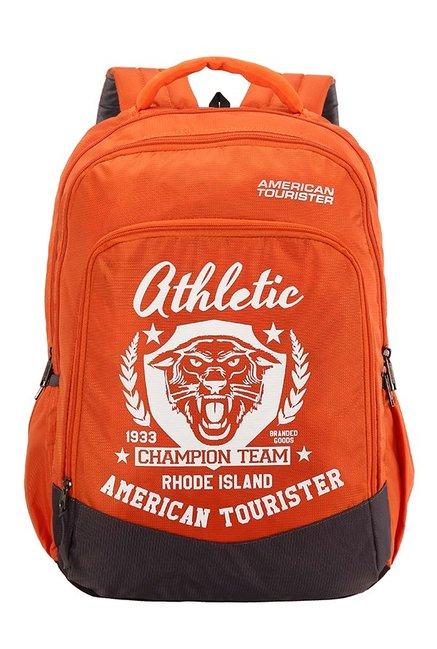 American Tourister Volt Orange & White Printed Backpack