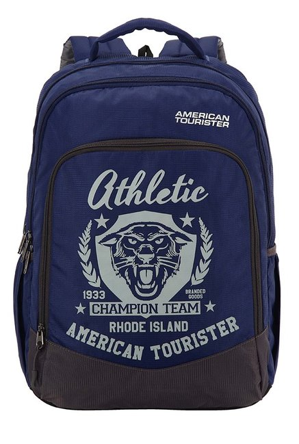 American Tourister Volt Blue & White Printed Backpack
