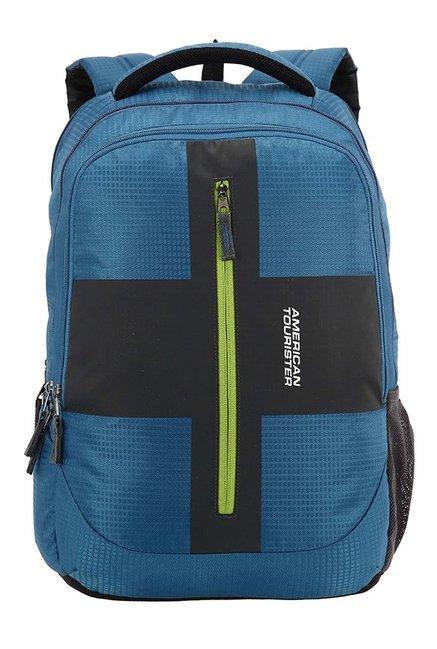 American Tourister Juke Teal Blue & Black Textured Backpack