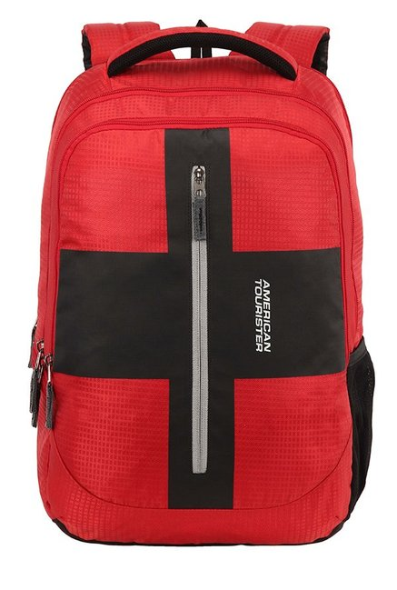 American Tourister Juke Red & Black Textured Backpack