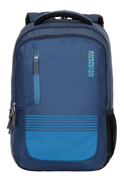 American Tourister Aero Blue Striped Polyester Backpack