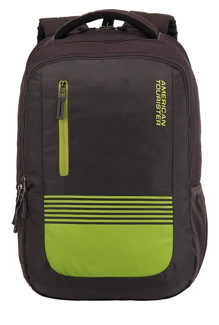 American Tourister Aero Black & Lime Green Striped Backpack