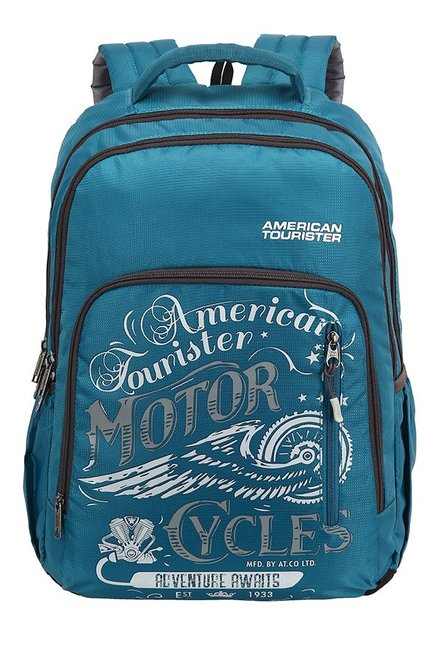 American Tourister Boom Teal Blue & White Printed Backpack