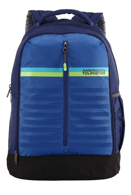 American Tourister Ping Blue Striped Polyester Backpack