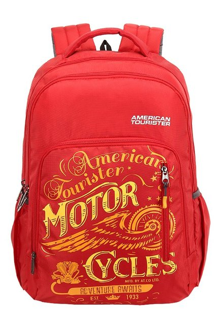 American Tourister Boom Red & Yellow Printed Backpack