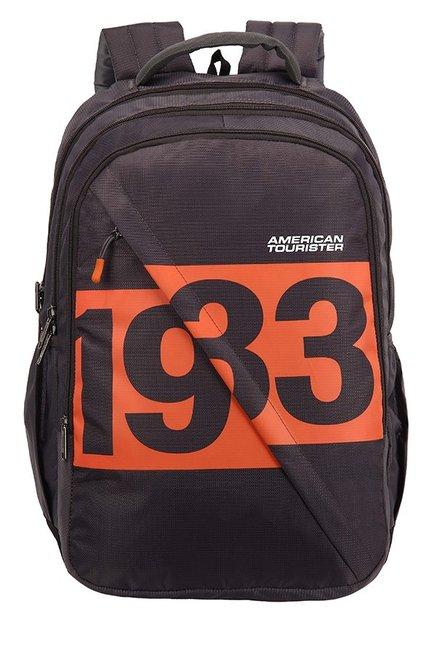 American Tourister Boom Dark Grey & Orange Printed Backpack