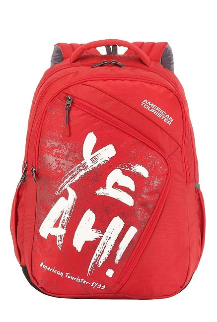 American Tourister Volt Red & White Printed Backpack