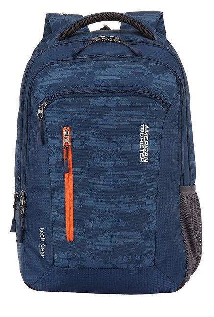 American Tourister Tech Gear Navy Printed Polyester Backpack