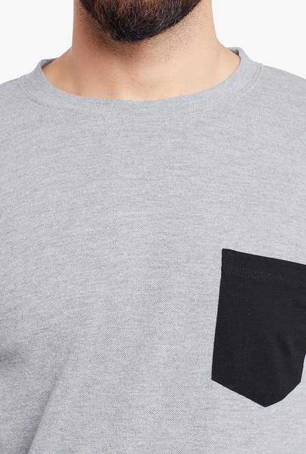 Hypernation Grey & Black Round Neck Cotton T-Shirt