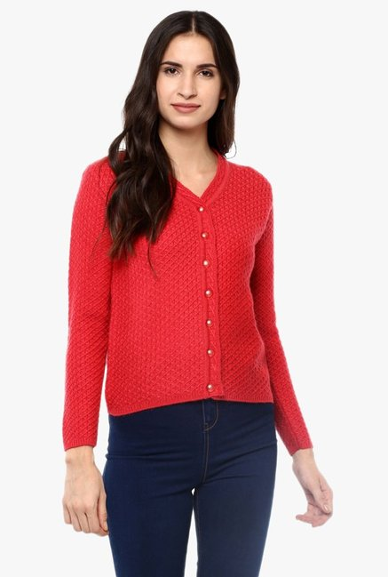Cayman Red Wool Cardigan