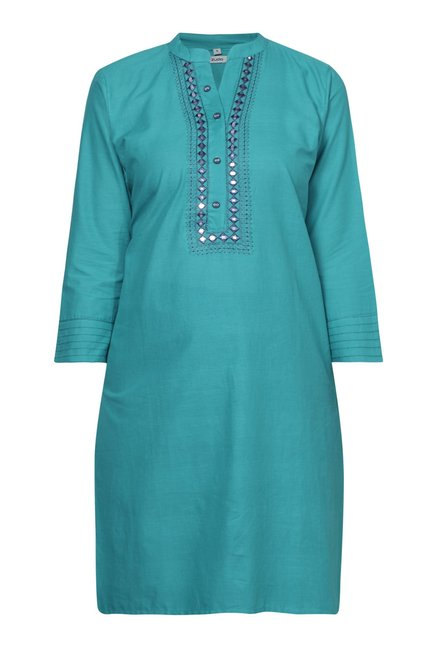 Zudio Teal Mirror-work Straight Fit Kurta