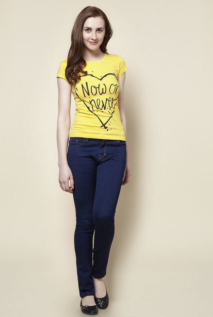 Zudio Yellow Now Crew Neck T-Shirt