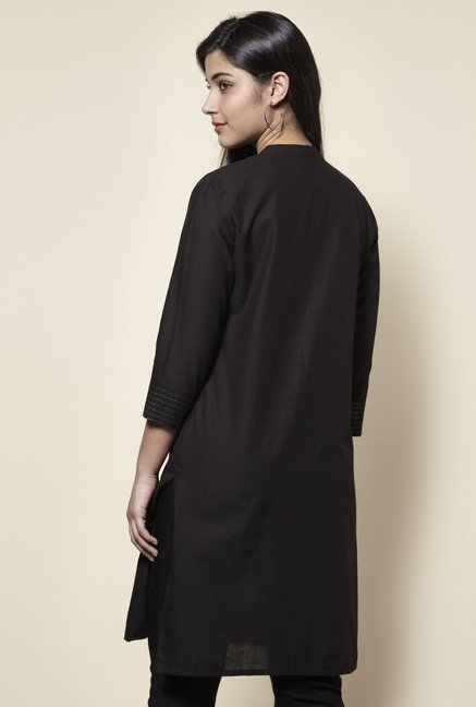 Zudio Black Mirror-work Straight Fit Kurta