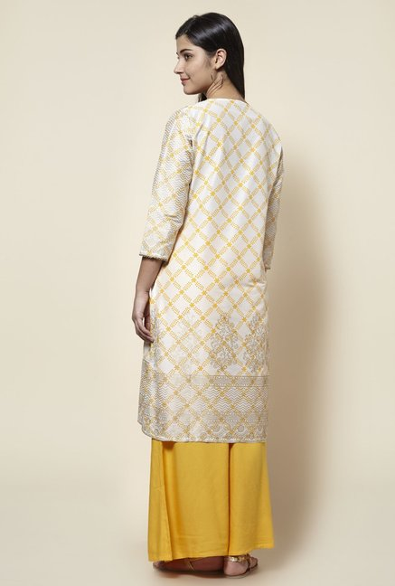 Zudio White Floral Printed Straight Fit Kurta
