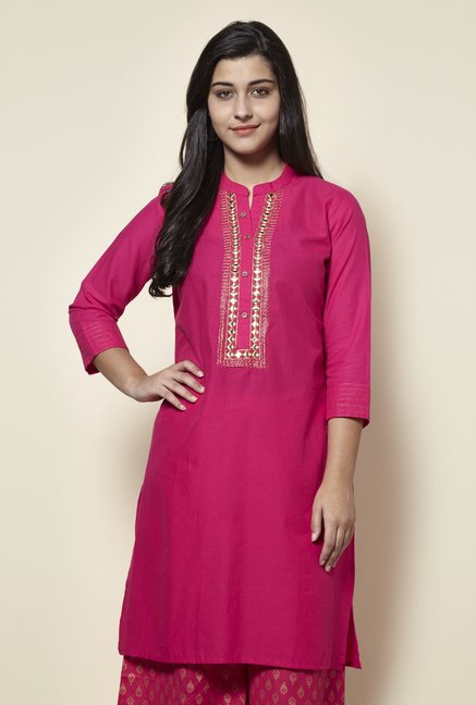 Zudio Fuchsia Mirror-work Straight Fit Kurta