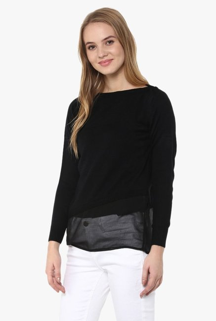 Cayman Black Boat Neck Pullover