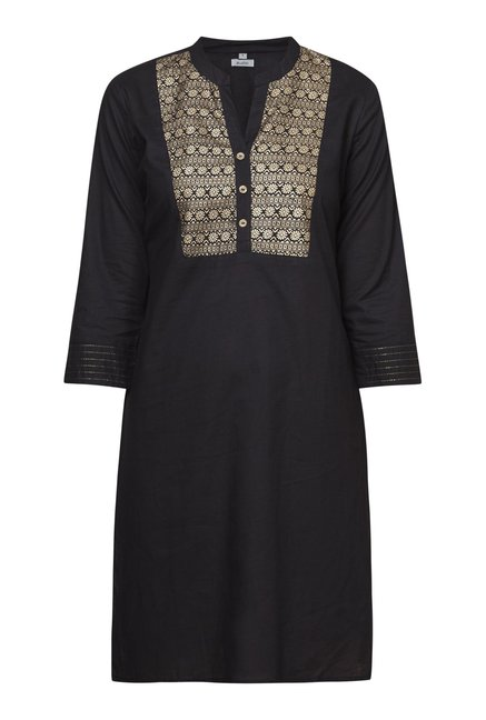 Zudio Black Floral Straight Fit Kurta