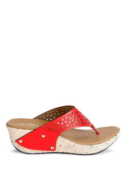 Cocoon Red Thong Wedges