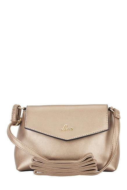 f2f0e7b977c Buy Lavie Luba Antique Gold Solid Flap Sling Bag For Women At Best Price   Tata  CLiQ