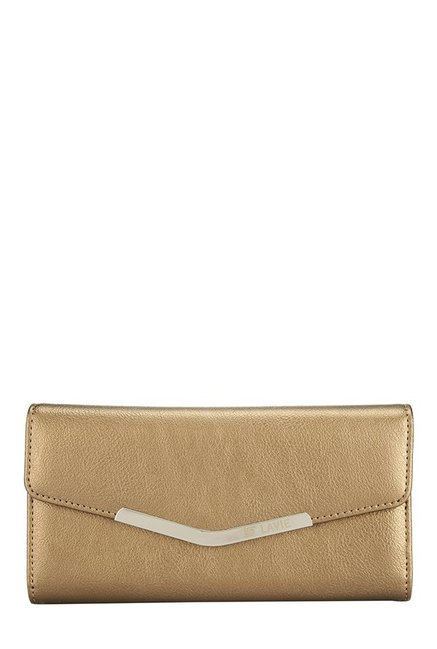Lavie Roma Antique Gold Solid Tri-Fold Wallet
