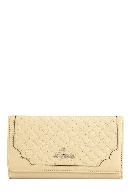 Lavie Roma Cream Stitched Tri-Fold Wallet