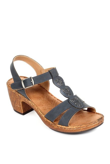 f8131387449 Buy Pavers England Navy T-Strap Sandals for Women at Best Price   Tata CLiQ