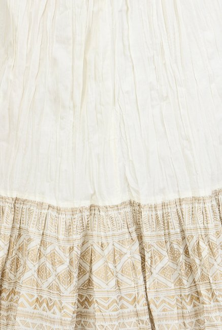 Varanga Off White Printed Cotton Skirt
