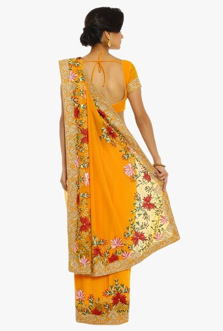 Soch Mustard Embroidered Georgette Saree With Blouse