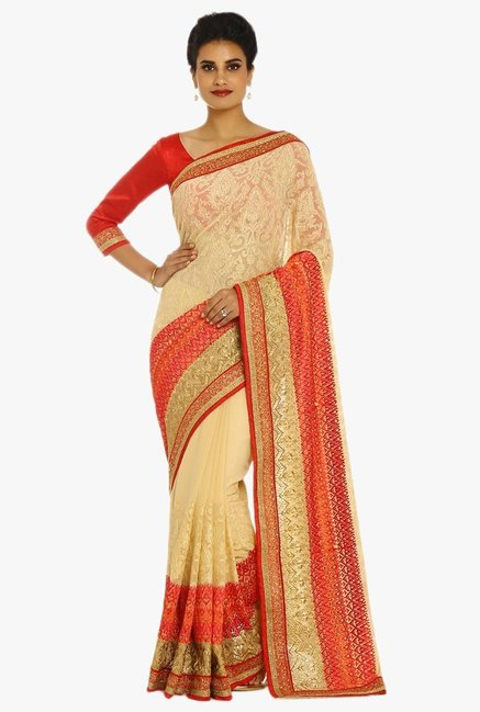 2b731549f67 Buy Soch Beige   Red Embroidered Georgette Saree With Blouse for Women  Online   Tata CLiQ