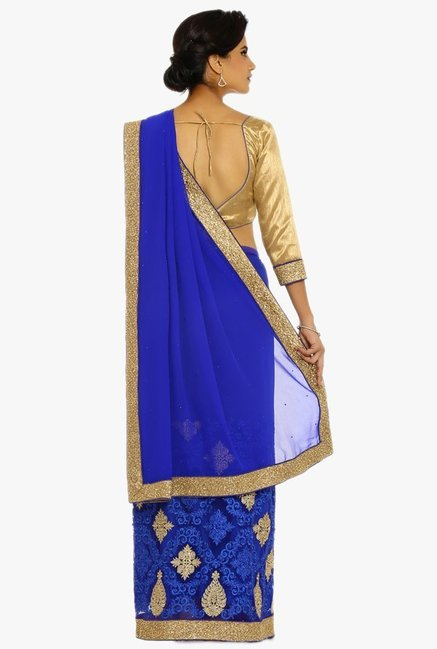 Soch Royal Blue Embroidered Georgette Saree With Blouse
