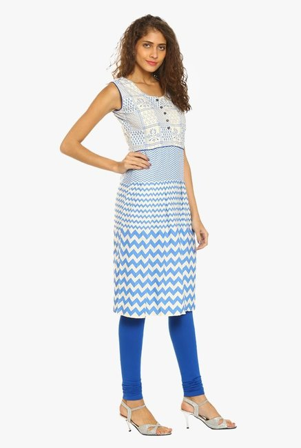 Soch Cream & Blue Printed Cotton Kurta