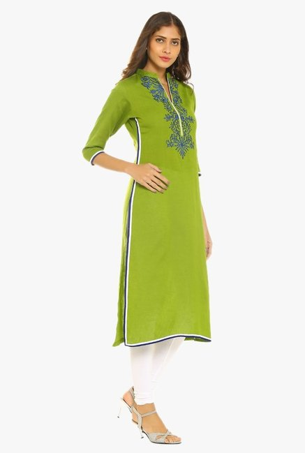 Soch Green Embroidered Linen Kurta