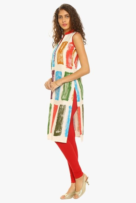 Soch Cream & Red Printed Cotton Kurta